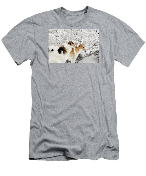 giant Borzoi hounds in winter Men's T-Shirt (Slim Fit) by Christian Lagereek