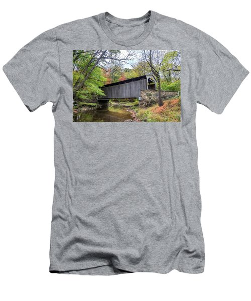 Glen Hope Covered Brige During Autumn Men's T-Shirt (Athletic Fit)