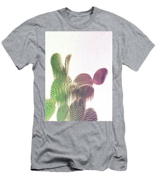 Glitch Cactus Men's T-Shirt (Athletic Fit)