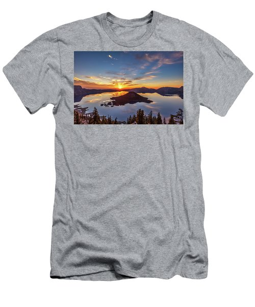 Men's T-Shirt (Athletic Fit) featuring the photograph Glorious Crater Lake Sunrise by Pierre Leclerc Photography