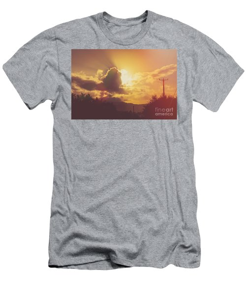 Glowing Orange Hilltop View Of An Afternoon Sunset Men's T-Shirt (Athletic Fit)