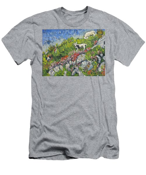 Goats On Hill Men's T-Shirt (Slim Fit) by Michael Daniels