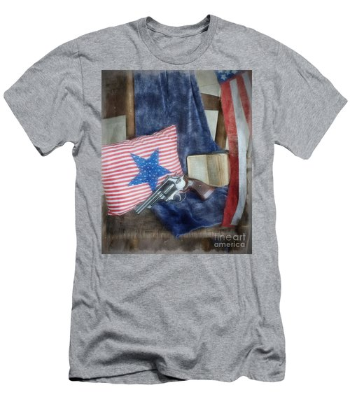 Men's T-Shirt (Slim Fit) featuring the photograph God, Guns And Old Glory by Benanne Stiens
