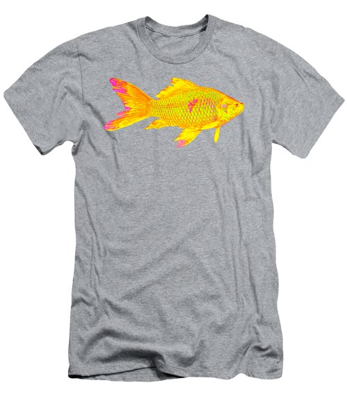 Gold Fish On Striped Background Men's T-Shirt (Athletic Fit)