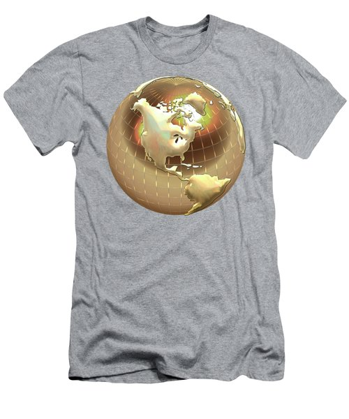 Golden Globe - Western Hemisphere On Gold Men's T-Shirt (Athletic Fit)