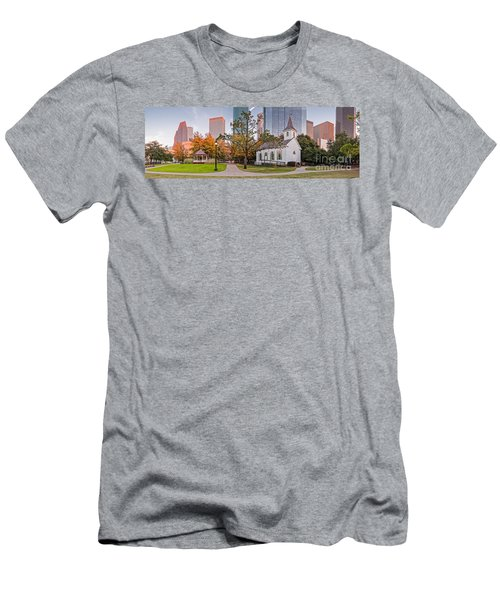 Golden Hour Fall Panorama Of Downtown Houston And St. John Church At Sam Houston Park - Texas Men's T-Shirt (Athletic Fit)
