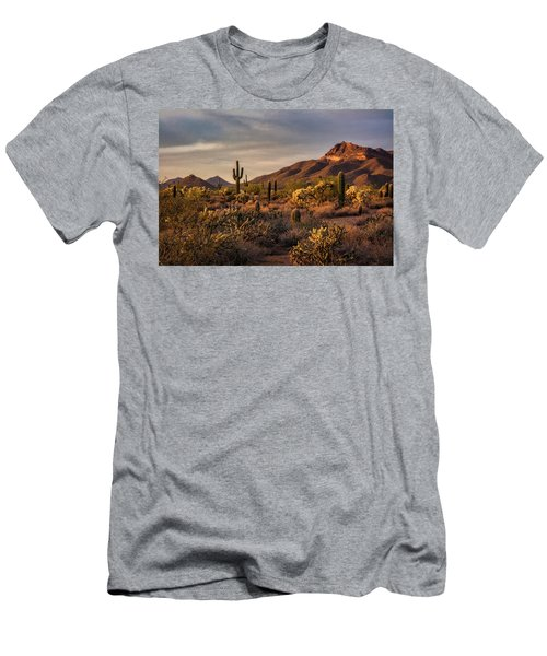 Men's T-Shirt (Athletic Fit) featuring the photograph Golden Hour On The Usery  by Saija Lehtonen