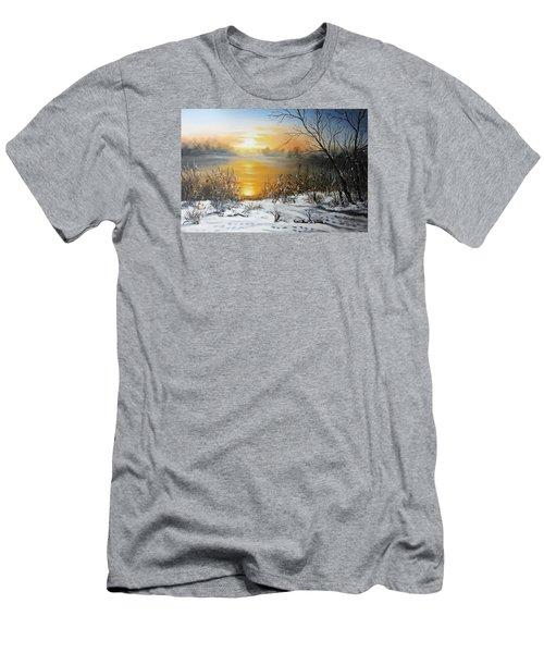 Golden Lake Sunrise  Men's T-Shirt (Slim Fit) by Vesna Martinjak