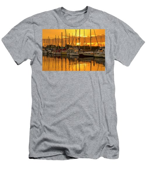 Golden Sailboat Sunrise Over Stuart Marina, Florida Men's T-Shirt (Athletic Fit)