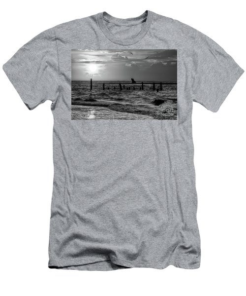 Men's T-Shirt (Slim Fit) featuring the photograph Golden Sunrise On The Outer Banks  Bw by Dan Carmichael