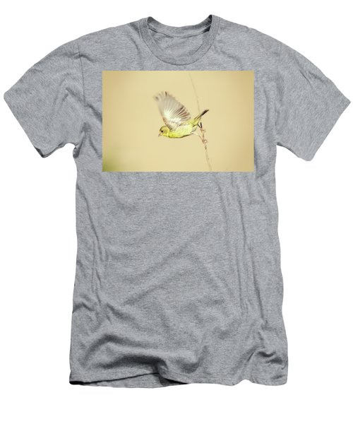 Goldfinch Flying Off  Men's T-Shirt (Athletic Fit)