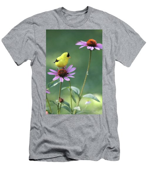 Men's T-Shirt (Athletic Fit) featuring the photograph Goldfinch On A Coneflower by Trina Ansel