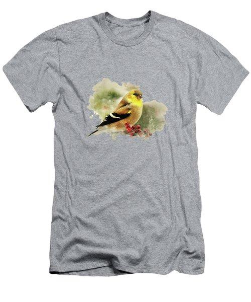 Goldfinch Watercolor Art Men's T-Shirt (Athletic Fit)