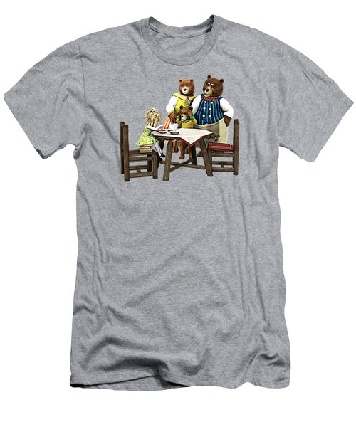 Men's T-Shirt (Slim Fit) featuring the painting Goldilocks N The 3 Bears by Methune Hively