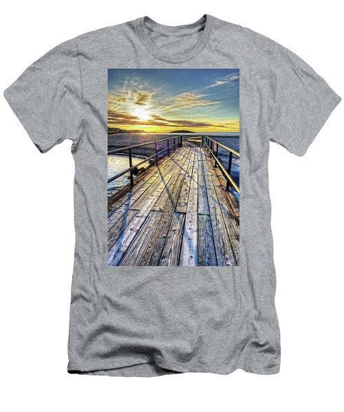 Good Harbor Beach Footbridge Shadows Men's T-Shirt (Athletic Fit)