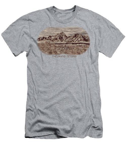 Grand Tetons Woodburning 2 Men's T-Shirt (Slim Fit) by John M Bailey