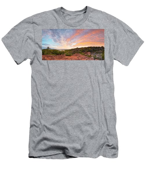 Granite Hills Of Inks Lake State Park Against Fiery Sunset - Burnet County Texas Hill Country Men's T-Shirt (Athletic Fit)