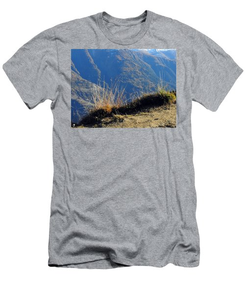 Grass In The Foreground, The Main Valley Of The Swiss Canton Of Valais In The Background Men's T-Shirt (Athletic Fit)