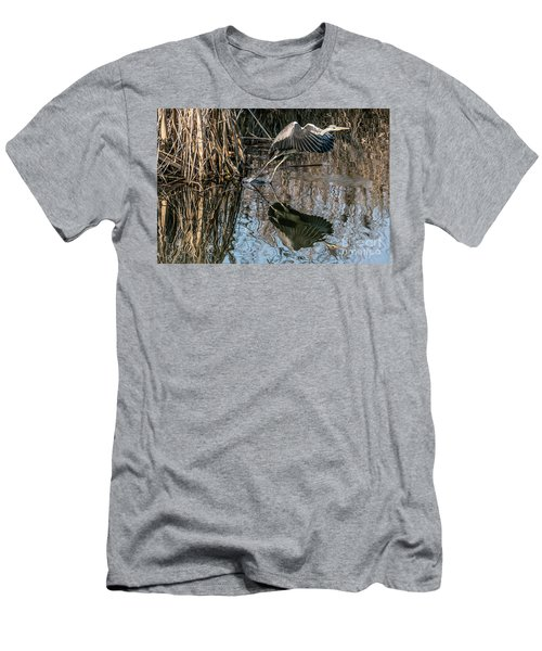 Gray Heron Flew Up Men's T-Shirt (Athletic Fit)
