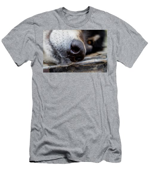 Men's T-Shirt (Slim Fit) featuring the photograph Gray Wolf Nose by Teri Virbickis