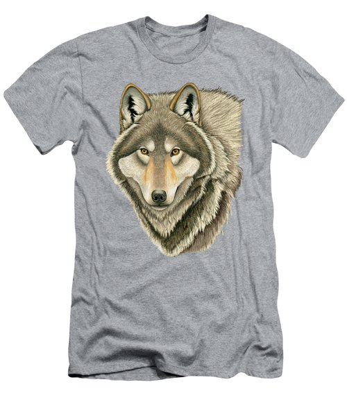 Gray Wolf Portrait Men's T-Shirt (Athletic Fit)