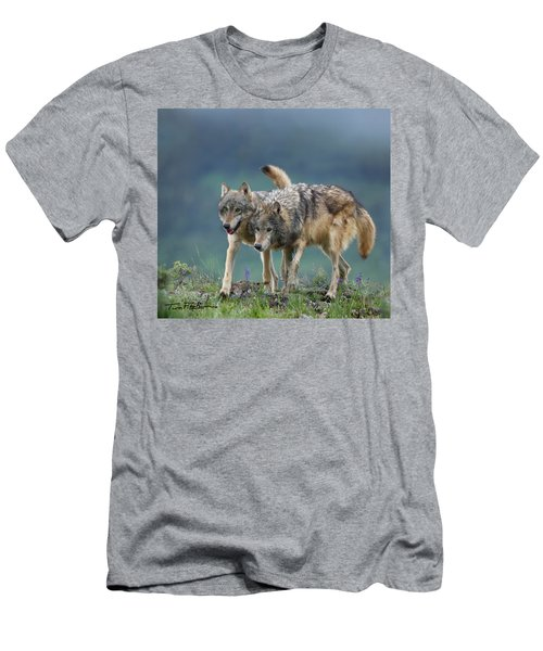Gray Wolves Men's T-Shirt (Slim Fit) by Tim Fitzharris