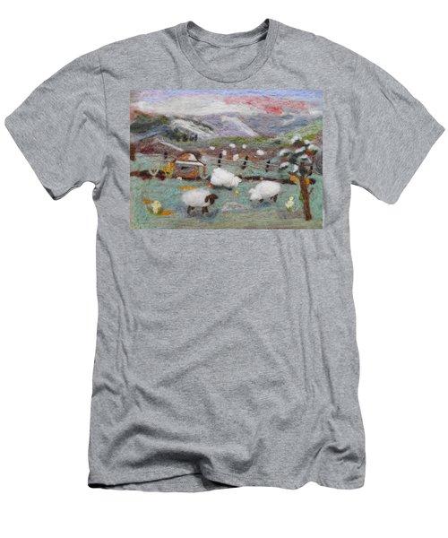 Grazing Woolies Men's T-Shirt (Slim Fit) by Christine Lathrop