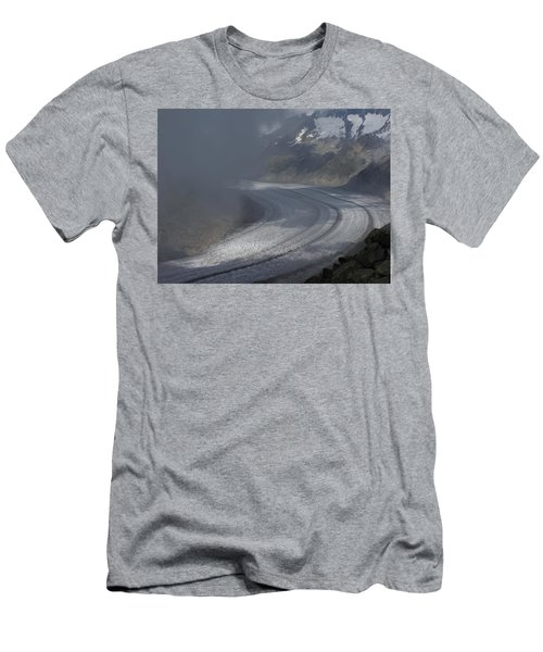 Great Aletsch Glacier In The Clouds. Canton Of Valais, Switzerland. Men's T-Shirt (Slim Fit) by Ernst Dittmar