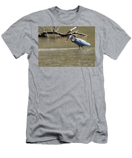 Men's T-Shirt (Slim Fit) featuring the photograph Great Blue Heron Dinning by Edward Peterson