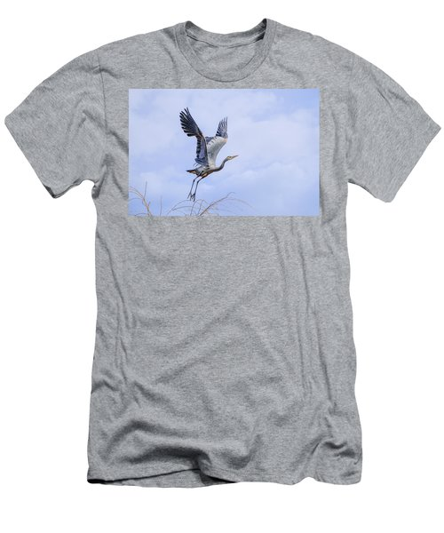 Great Blue Heron In Flight Men's T-Shirt (Slim Fit) by Keith Boone