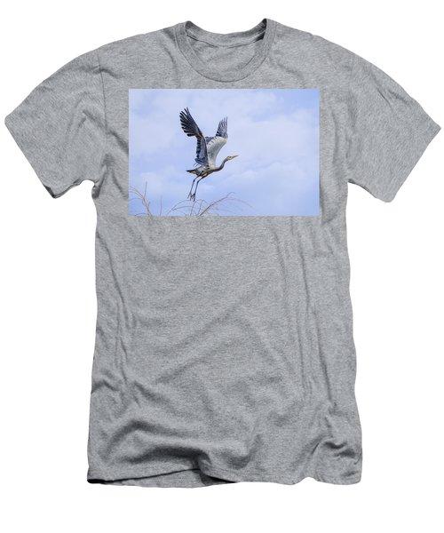 Great Blue Heron In Flight Men's T-Shirt (Athletic Fit)