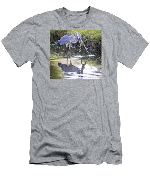Great Blue Heron Vs Huge Frog Men's T-Shirt (Slim Fit) by Ricky L Jones
