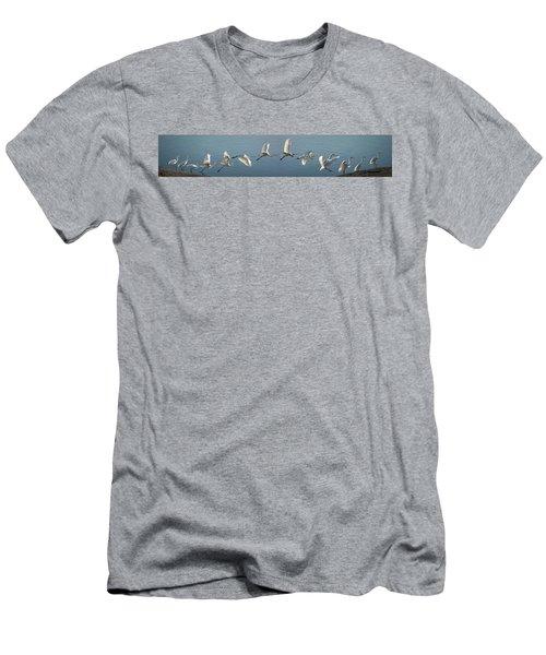 Great Egret Flight Sequence Men's T-Shirt (Athletic Fit)