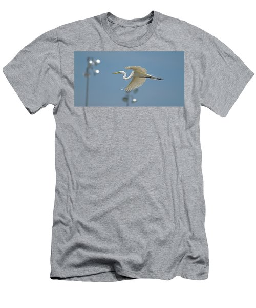 Great Egret In Flight And Flood Lighting Men's T-Shirt (Athletic Fit)