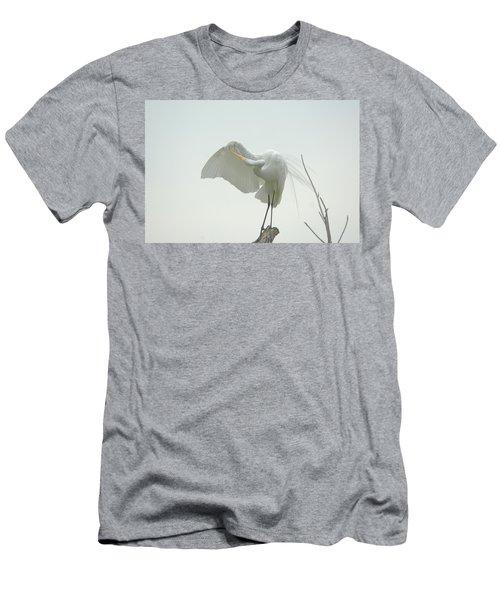 Great Egret Preening On Broken Tree Limb Men's T-Shirt (Athletic Fit)
