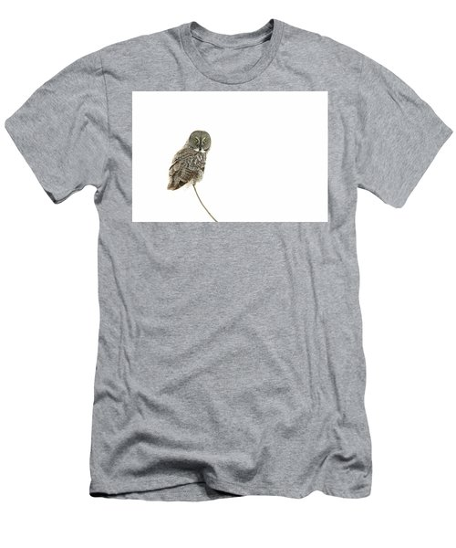 Men's T-Shirt (Slim Fit) featuring the photograph Great Grey Owl On White by Mircea Costina Photography