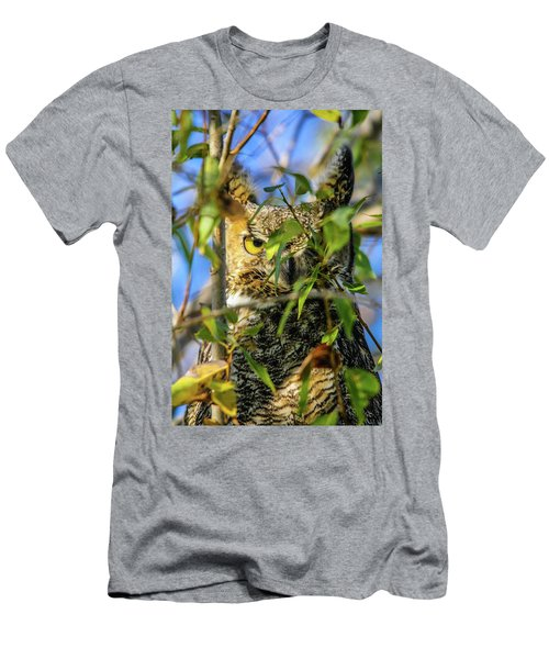 Great Horned Owl Peeking At It's Prey Men's T-Shirt (Athletic Fit)