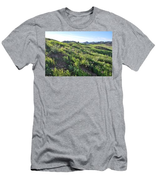 Men's T-Shirt (Athletic Fit) featuring the photograph Green Hills Purple Flowers - Rocky View by Matt Harang