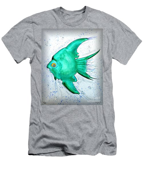 Men's T-Shirt (Slim Fit) featuring the mixed media Greenfish by Walt Foegelle