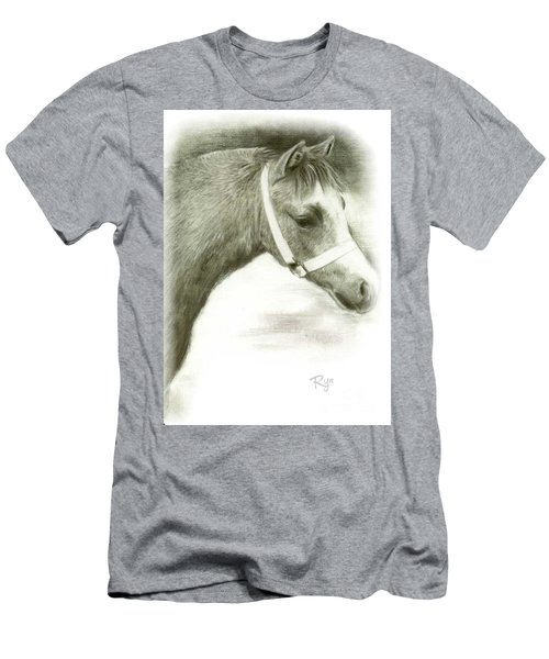 Men's T-Shirt (Athletic Fit) featuring the drawing Grey Welsh Pony  by Ryn Shell