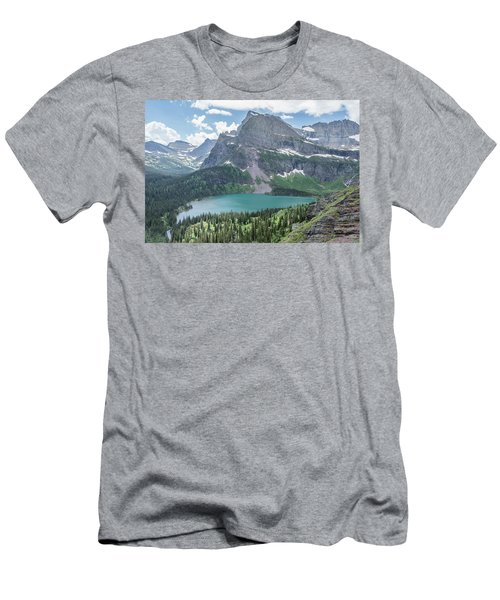 Grinnell Lake From Afar Men's T-Shirt (Slim Fit) by Alpha Wanderlust