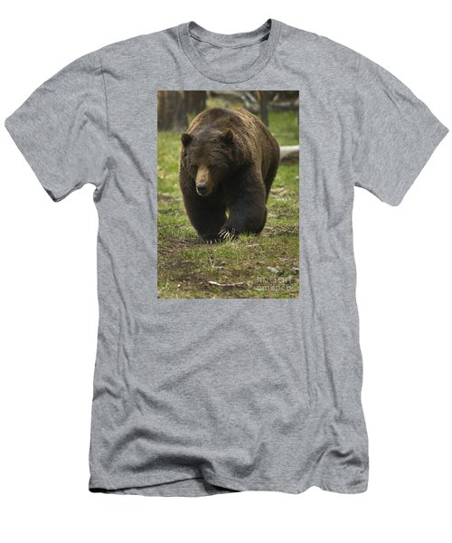 Men's T-Shirt (Slim Fit) featuring the photograph Grizzly Boar-signed-#7914 by J L Woody Wooden