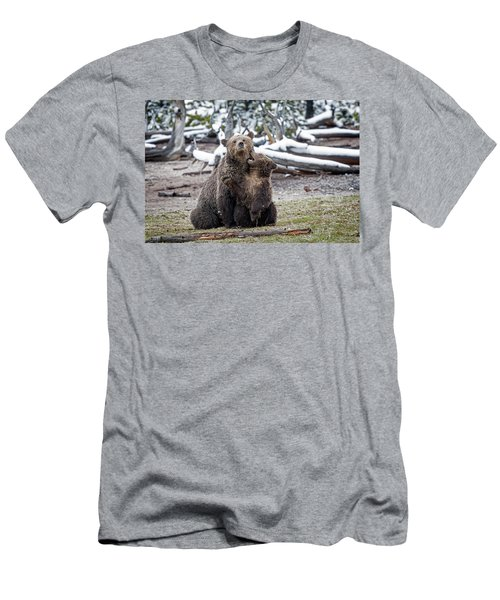Men's T-Shirt (Athletic Fit) featuring the photograph Grizzly Cub Playing With Mother by Scott Read