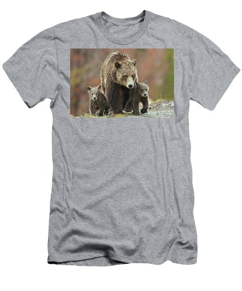 Men's T-Shirt (Athletic Fit) featuring the photograph Grizzly Family by Wesley Aston
