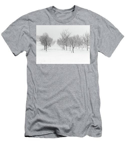 Grove Of Trees In A Snow Storm Men's T-Shirt (Athletic Fit)