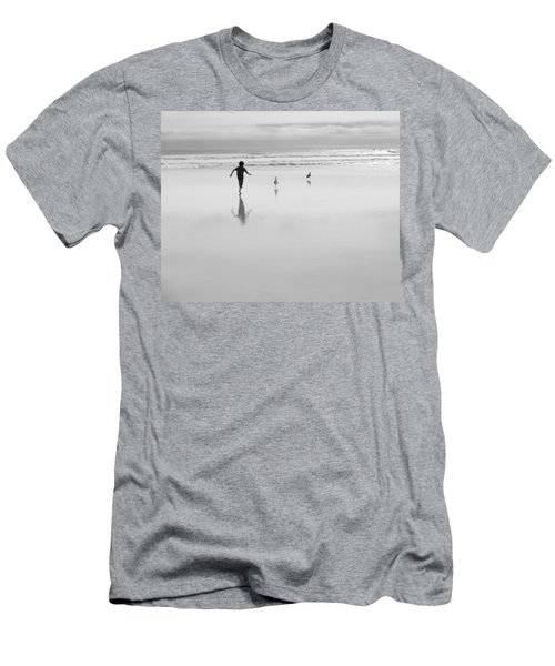 Men's T-Shirt (Athletic Fit) featuring the photograph Gull Chasing 101 by Lora Lee Chapman