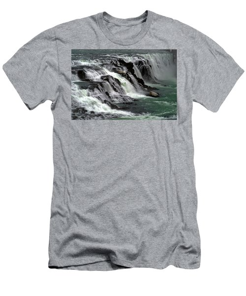 Gullfoss Waterfalls, Iceland Men's T-Shirt (Slim Fit) by Dubi Roman