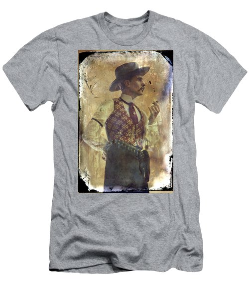 Men's T-Shirt (Slim Fit) featuring the photograph Gunslinger IIi Doc Holliday In Fine Attire by Toni Hopper