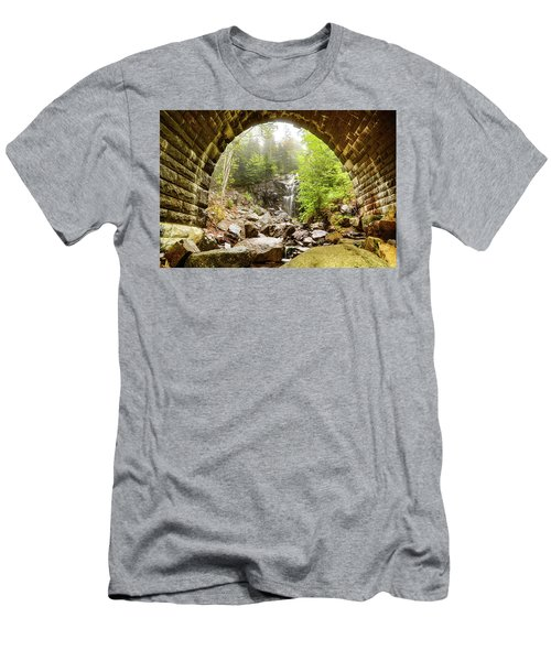 Men's T-Shirt (Athletic Fit) featuring the photograph Hadlock Falls Under Carriage Road Arch by Jeff Folger