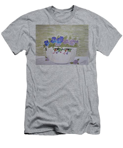 Hall China Crocus Bowl With Violets Men's T-Shirt (Slim Fit) by Kathy Marrs Chandler